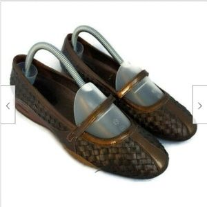 Cole Haan bronze woven mary jane flats shoes